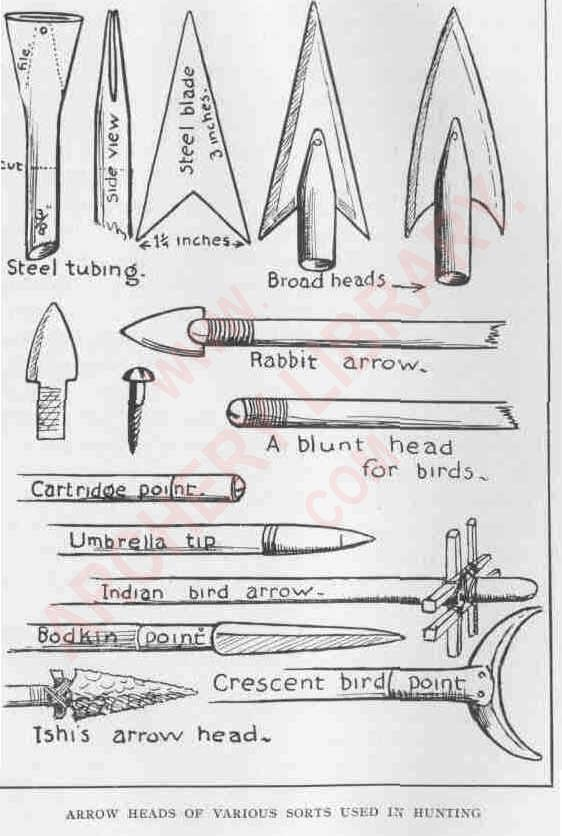 Arrow heads of various sorts used in hunting